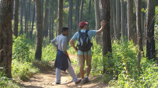 Weligama, Sri Lanka: Namal and my husband discussing the flora and fauna of Sri Lanka.