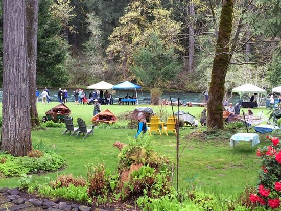 Vida, OR: Backyard of the Lodge  - booths set up for the annual Wooden Boat Festival