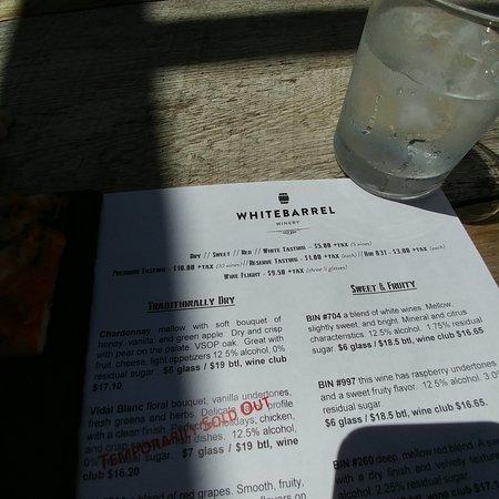 Christiansburg, VA: Partial wine tasting menu