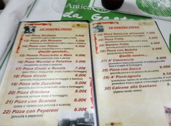 Pizzeria da Gaetano: Меню 2