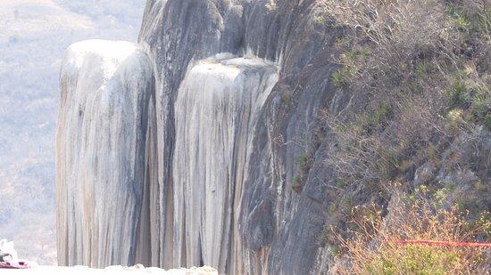 Hierve el Agua: close up frozen waterfall
