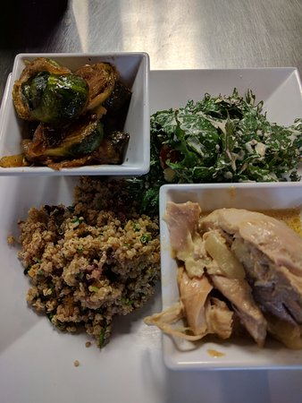 Provo, UT: coconut chicken, quinoa salad, kale salad, charred brussel sprouts