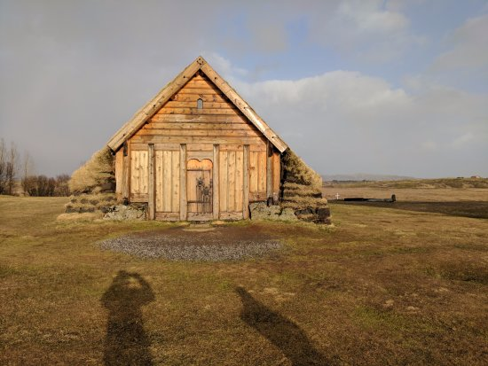 Fludir, Iceland: Turf house next to cathedral