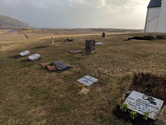 Fludir, Iceland: Behind cathedral + cemetery