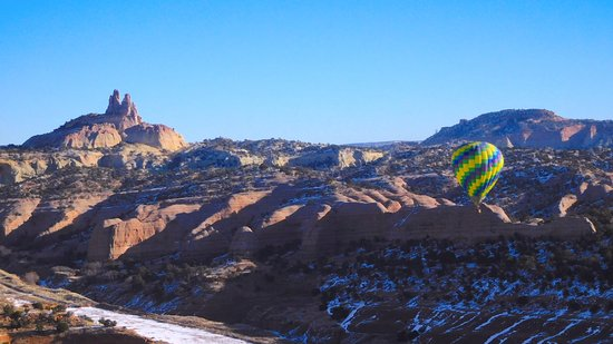 Gallup, NM: Another balloon was up, perfect views Castle Rock and surrounds