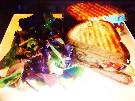 The Squirrel Cage: Veggie Panini with side salad.