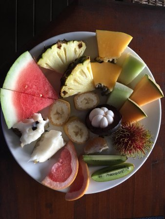 The Epiphyte Bed and Breakfast: A fruit platter as part of breakfast at Epiphyte B&B