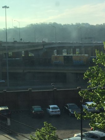 The Priory Hotel: Early morning view from Room 321, King. Car park across the street.