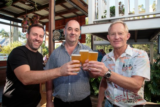Paul Thomas - Hotel Manager, Dr Chick Hahn (Lion) and Chris Sheehan (Eumundi Brewery Head Brewer
