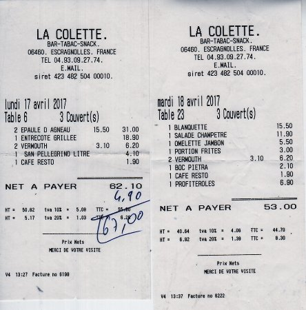 """La Colette: Nos """"additions"""" du lundi de Pâques et du lendemain... le surlendemain c'était fermé !"""