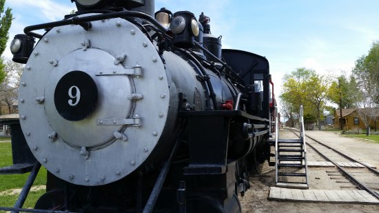 Laws Railroad Museum: Old No. 9, narrow gauge locomotive and box cars.