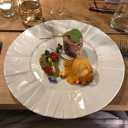 Llangattock, UK: Ham hock terrine, pea puree, pineapple chutney, crispy duck egg.