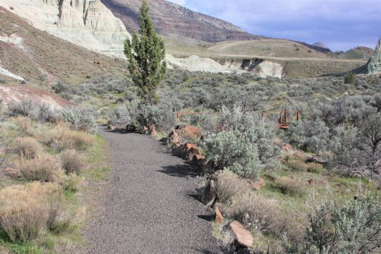 Fossil, Орегон: The trailhead in the Blue basin area. Primitive rest rooms are available here.