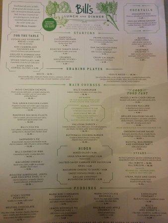 Bill S Restaurant Peterborough Menu