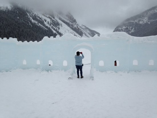 Lake Louise: Someone built an intriguing ice castle and skating rink right on the lake.