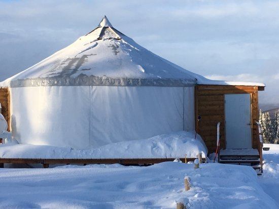 1st Alaska Tours: Warm comfortable yurt with AWESOME views!! Bathroom facilities, snacks, hot coffee, hot chocolat