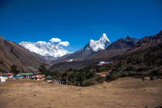 Kathmandu Valley, Nepal: View of Mt. Everest, Nuptse, Lohtse and Amadablam from Tengboche Monastery.