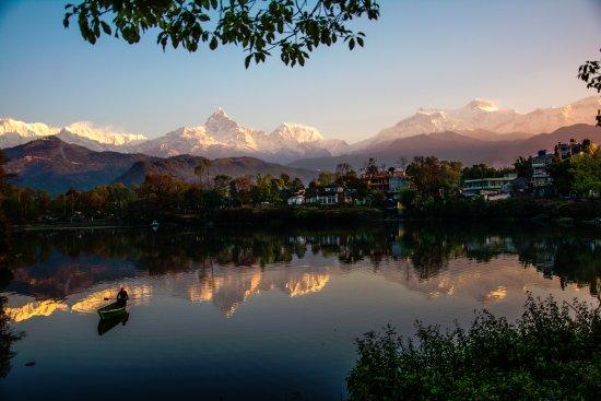 Kathmandu Valley, Nepal: View of Annapurna range blessed by Sunrise from Fewa Lake.