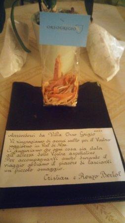 Villa Orso Grigio: Piccolo omaggio trovato in camera dopo essere tornati dalla cena