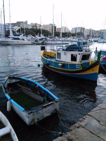 Msida Yacht Marina with traditional Maltese boats.
