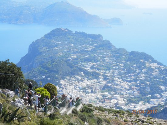 Capri day Tours: View from the top of Anacapri after chairlift down to Capri
