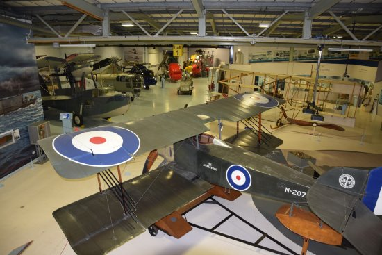 Ilchester, UK: Hall 1 with Sopwith Tabloid in forground. (H Llewelyn)