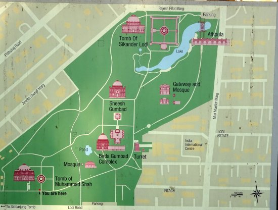 Site map of monuments in gardens picture of lodi gardens for Spaces architects safdarjung