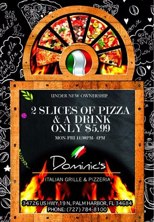 Palm Harbor, FL: 2 slices and a drink for $5.99