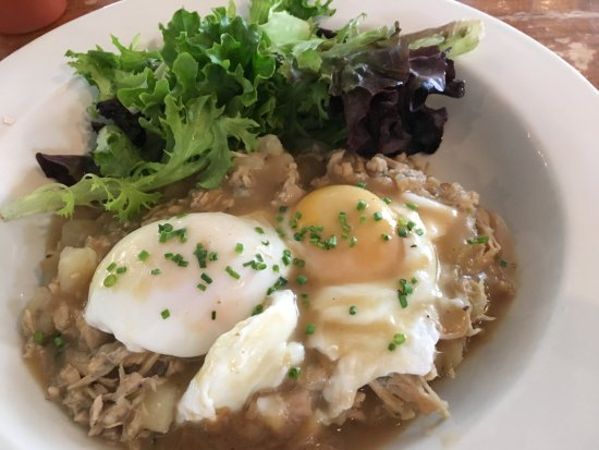 Lenox, MA: turkey hash with poached eggs