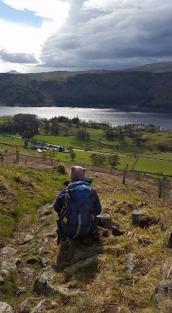 Thirlmere, UK: On the trail behind fisher-gill camping barn.