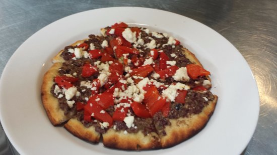 Stonington, CT: Olive tapenade, roasted red peppers & feta Pitza