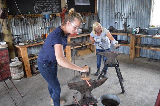 Te Awamutu, New Zealand: working at the anvil