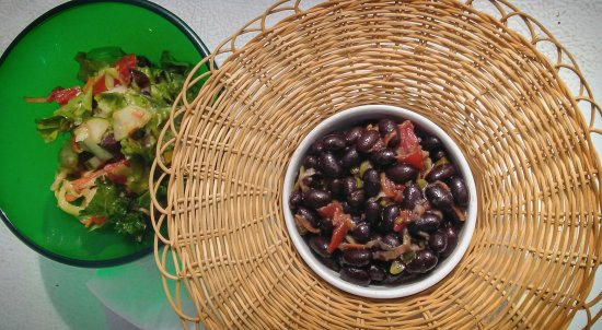 Holetown, Barbados: Salad: Black Beans in a Sombrero