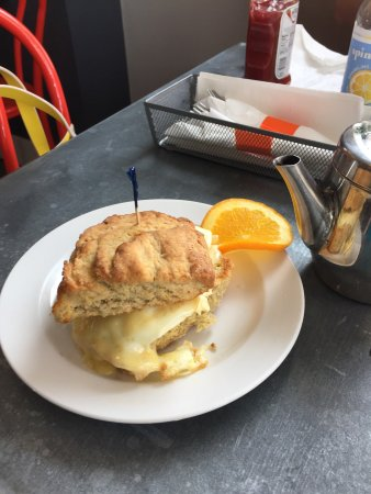 Biddeford, ME: Egg and cheese on a biscuit