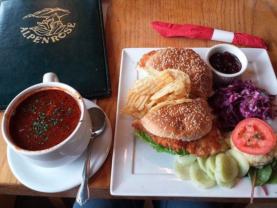 Alpenrose Restaurant: Goulash soup and a Schnitzel sandwich
