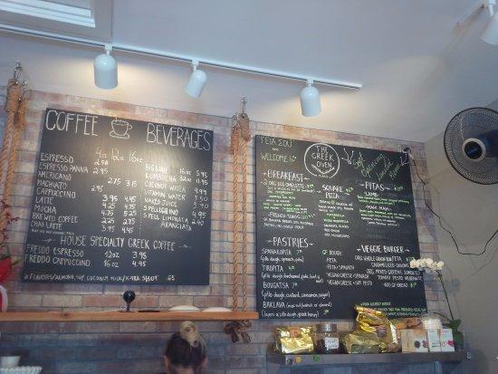 Haiku, HI: Chalk board style menus behind counter