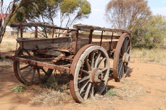 Patchewollock, Australia: The old bullock dray nearby the silos