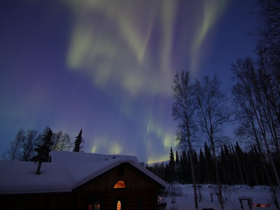 Riverbend Log Cabins & Cottage Rentals: aurora borealis as seen from the Sourdough balcony