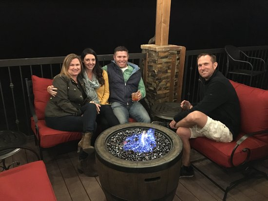 Show Low, AZ: The outdoor patio with fire pits