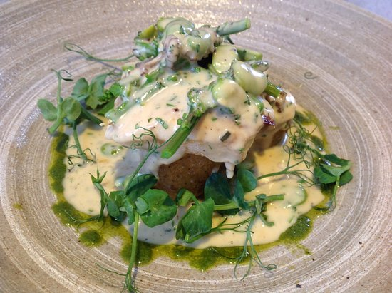 Hadleigh, UK: Roasted halibut with broad bean cream sauce and pea shoots
