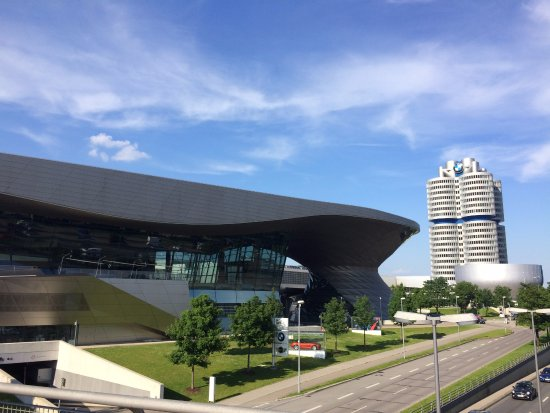 Bmw Museum Munich >> Outside View Of Bmw World With Bmw Museum And Tower In The