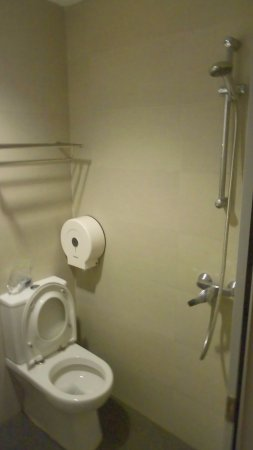 Fragrance Hotel - Riverside: Small bathroom... Turn on the hot water at the switch...