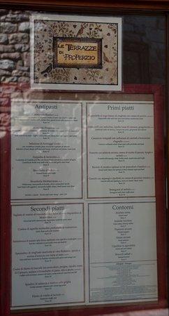 The Menu - Picture of Le Terrazze di Properzio, Assisi - TripAdvisor