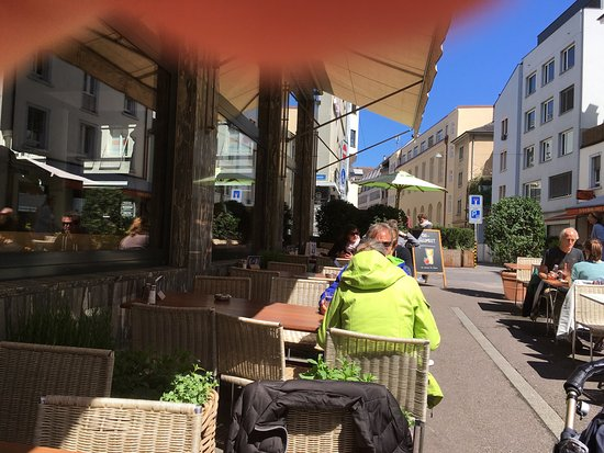 Tibits offer a great selection of vegetarian dishes in a weight based buffet. Outdoor seating is in the sun after noon.