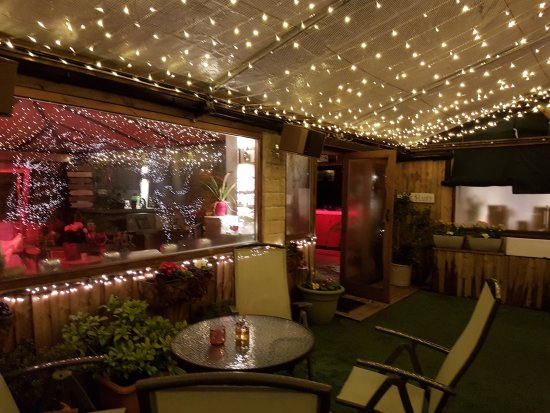 Marsden, UK: Patio at night