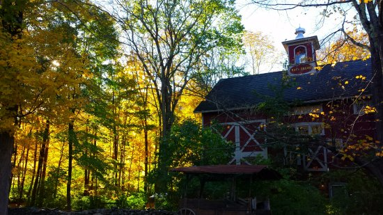 Sheffield, MA: A view of one of the main houses amidst the leaves.