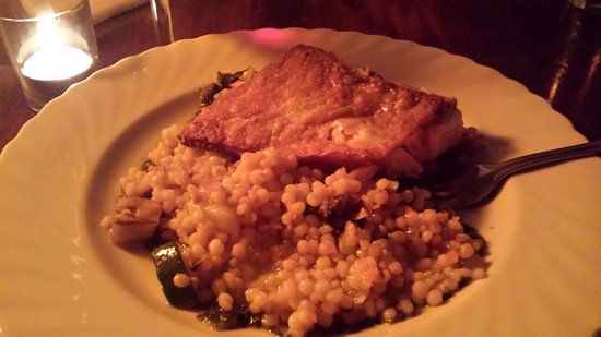 Sheffield, MA: A beautifully made nut encrusted salmon with couscous medley