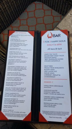 Litchfield Park, AZ: W bar menu for Happy Hour