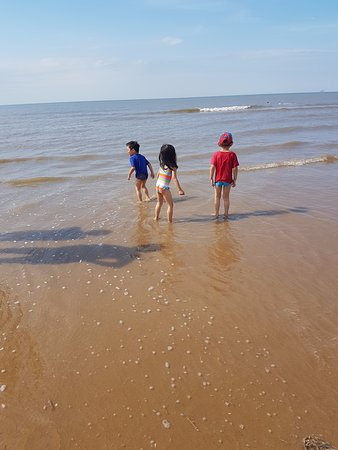 Formby Beach : First dip in the sea
