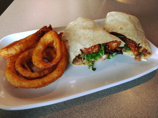 Home, PA: El Paso Sriracha Wrap with onion rings off their weekly specials menu.